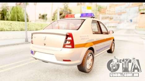 Dacia Logan Facelift Ambulanta v2 para GTA San Andreas traseira esquerda vista