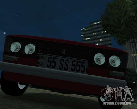 VAZ 2106 arménio para GTA San Andreas traseira esquerda vista