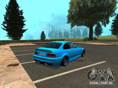 BMW M3 E46 Postura para GTA San Andreas traseira esquerda vista