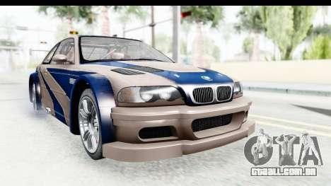 NFS Carbon - BMW M3 GTR para GTA San Andreas traseira esquerda vista