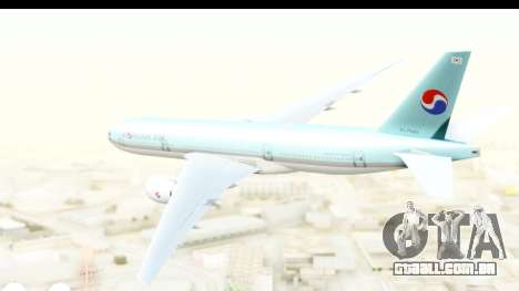 Boeing 777-200ER Korean Air para GTA San Andreas vista direita