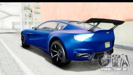 GTA 5 Dewbauchee Seven 70 para GTA San Andreas traseira esquerda vista