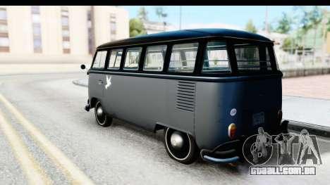 Volkswagen Transporter T1 Deluxe Bus para GTA San Andreas esquerda vista