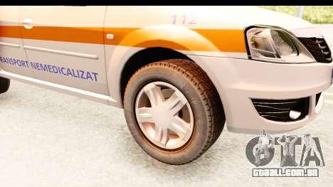 Dacia Logan Facelift Ambulanta v2 para GTA San Andreas vista traseira