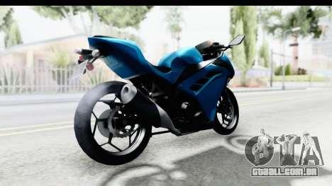 Kawasaki Ninja 300R para GTA San Andreas traseira esquerda vista