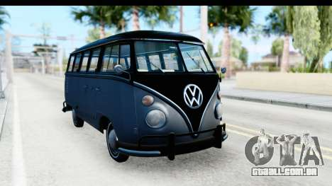 Volkswagen Transporter T1 Deluxe Bus para GTA San Andreas vista direita