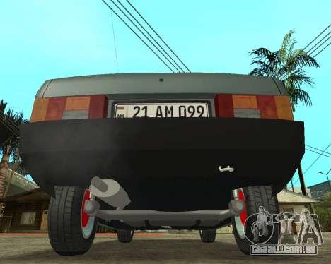 Vaz 21099 ARMNEIAN para GTA San Andreas traseira esquerda vista