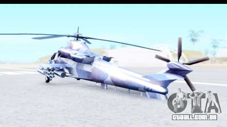 Denel AH-2 Rooivalk Blue para GTA San Andreas traseira esquerda vista