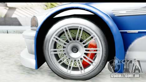 NFS: MW - BMW M3 GTR para GTA San Andreas vista traseira