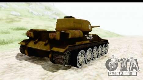 T-34-85 Rudy 102 para GTA San Andreas traseira esquerda vista
