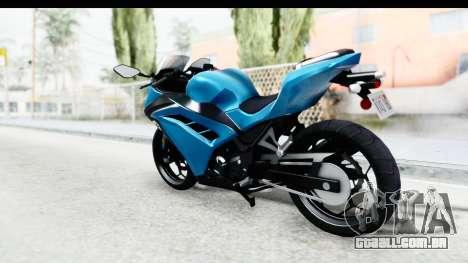 Kawasaki Ninja 300R para GTA San Andreas esquerda vista