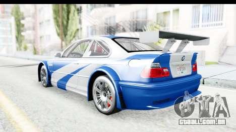 NFS: MW - BMW M3 GTR para GTA San Andreas traseira esquerda vista