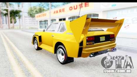 GTA 5 Obey Omnis IVF para GTA San Andreas esquerda vista