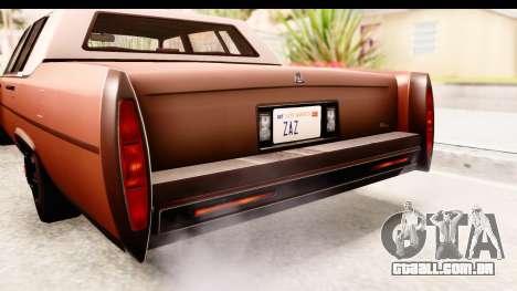 GTA 5 Albany Emperor SA Style para GTA San Andreas vista interior