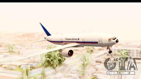 Boeing 777-200LR Philippine Airline Retro Livery para GTA San Andreas traseira esquerda vista