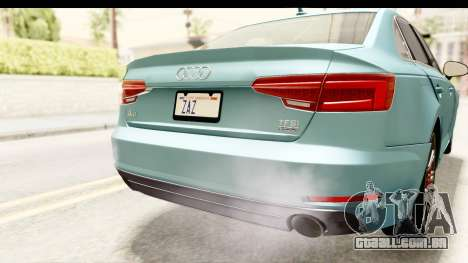Audi A4 TFSI Quattro 2017 para GTA San Andreas vista inferior