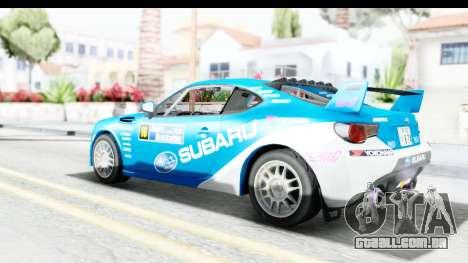 Subaru BRZ Rally para GTA San Andreas esquerda vista