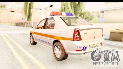 Dacia Logan Facelift Ambulanta v2 para GTA San Andreas esquerda vista