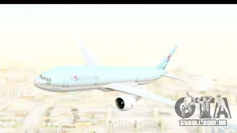 Boeing 777-200ER Korean Air para GTA San Andreas traseira esquerda vista