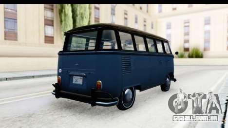 Volkswagen Transporter T1 Deluxe Bus para GTA San Andreas traseira esquerda vista