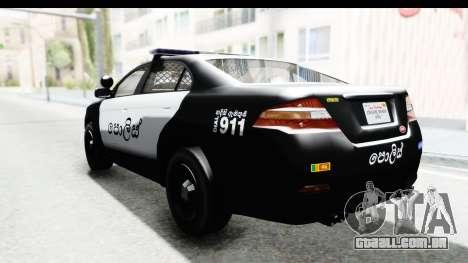Sri Lanka Police Car v1 para GTA San Andreas esquerda vista