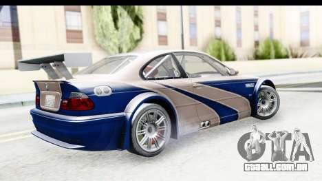 NFS Carbon - BMW M3 GTR para GTA San Andreas esquerda vista