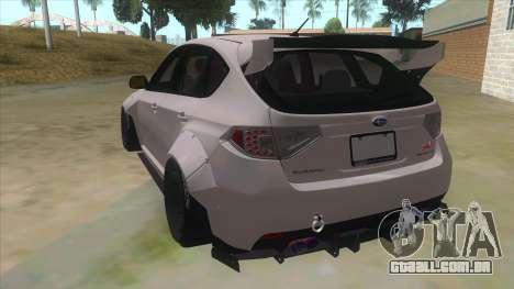 2008 Subaru WRX Widebody L3D para GTA San Andreas traseira esquerda vista