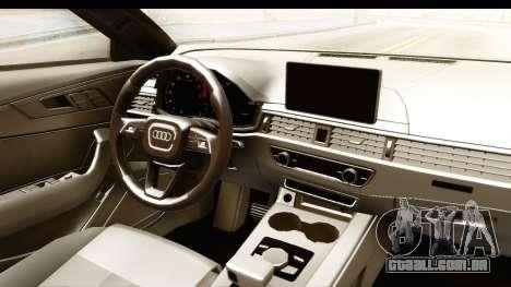 Audi A4 TFSI Quattro 2017 para GTA San Andreas vista interior