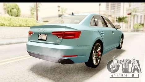 Audi A4 TFSI Quattro 2017 para GTA San Andreas traseira esquerda vista