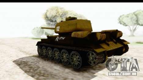 T-34-85 Rudy 102 para GTA San Andreas esquerda vista