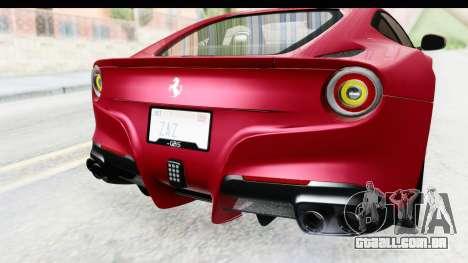 Ferrari F12 Berlinetta 2014 para GTA San Andreas vista inferior