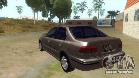 Honda Civic Sedan Stock para GTA San Andreas traseira esquerda vista