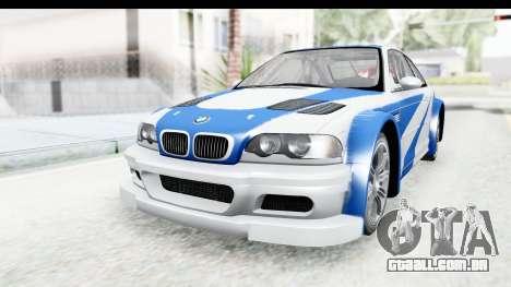 NFS: MW - BMW M3 GTR para GTA San Andreas vista direita