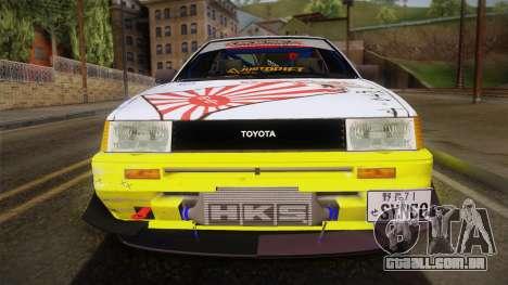 Toyota AE86 2 Door Levin para GTA San Andreas traseira esquerda vista