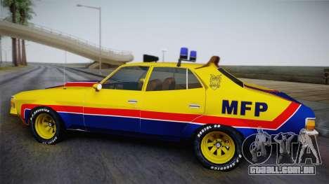 Main Force Patrol Vehicle Mad Max para GTA San Andreas traseira esquerda vista