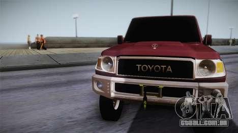 Toyota Land Cruiser 4 Puertas Original para GTA San Andreas traseira esquerda vista