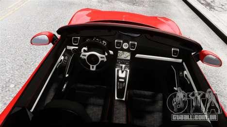 Porsche Boxster GTS 2014 para GTA 4 vista de volta