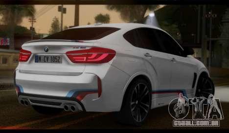 BMW X6M F86 M Performance para GTA San Andreas esquerda vista