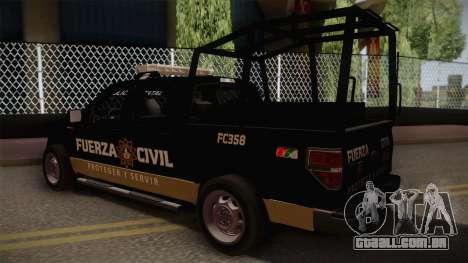 Ford F-150 de la Fuerza Civil de Nuevo Leon para GTA San Andreas esquerda vista