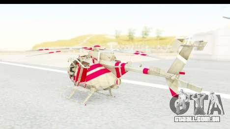 Smaga Sparrow Helis Military Version para GTA San Andreas traseira esquerda vista