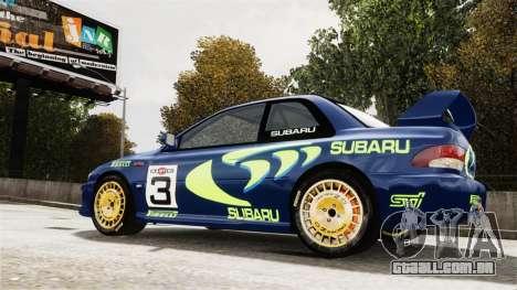 Subaru Rally WRC Impreza 98 v8 para GTA 4 traseira esquerda vista