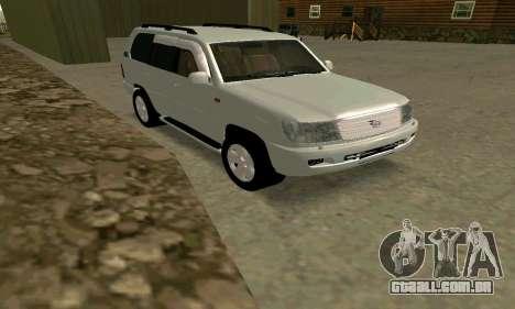 Toyota Land Cruiser 100 VX para GTA San Andreas traseira esquerda vista