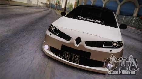 Renault Megan para GTA San Andreas traseira esquerda vista