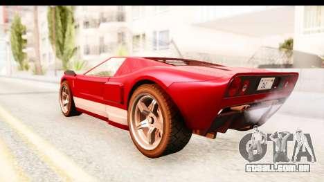 GTA 4 TboGT Bullet para GTA San Andreas traseira esquerda vista