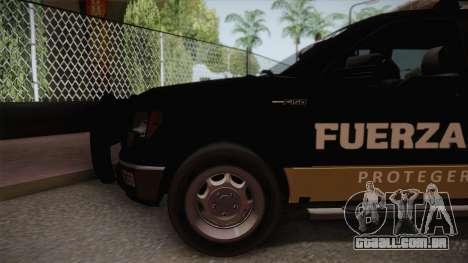 Ford F-150 de la Fuerza Civil de Nuevo Leon para GTA San Andreas traseira esquerda vista
