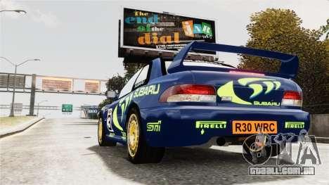 Subaru Rally WRC Impreza 98 v8 para GTA 4 esquerda vista