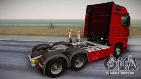 Mercedes-Benz Actros Mp4 6x4 v2.0 Bigspace v2 para GTA San Andreas esquerda vista