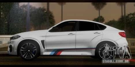 BMW X6M F86 M Performance para GTA San Andreas traseira esquerda vista