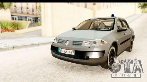 Renault Megane 2 Sedan Unmarked Police Car para GTA San Andreas traseira esquerda vista