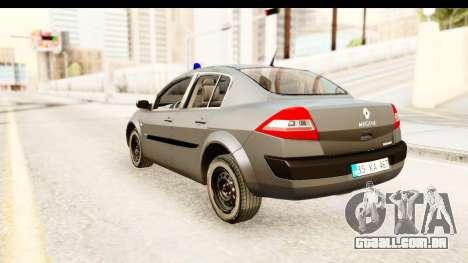 Renault Megane 2 Sedan Unmarked Police Car para GTA San Andreas esquerda vista